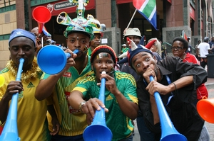 World Cup fans blowing the now world famous vuvuzelas